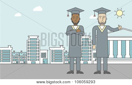 Graduates in cloak and hat on a city background with academy building. Vector line design illustration. Horizontal layout with a text space for a social media post.