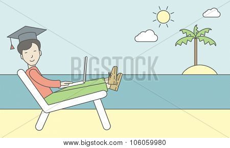 An asian man in graduation cap lying on chaise longue on the seashore. Vector line design illustration. Horizontal layout with a text space for a social media post.