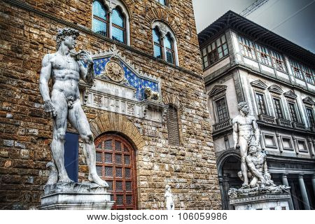 David And Hercules Statues In Florence