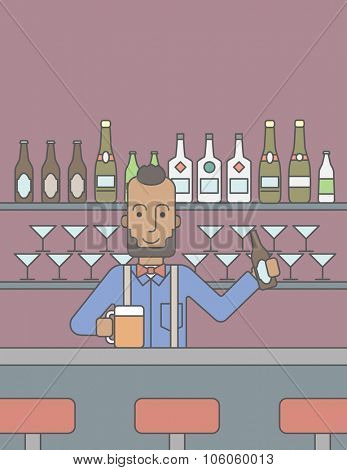 An african-american hipster man with a bottle and a glass on a bar background. Vector line design illustration. Vertical layout with a text space for a social media post.