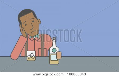 A sad african-american man sitting at the table with a bottle and a glass. Vector line design illustration. Horizontal layout with a text space for a social media post.