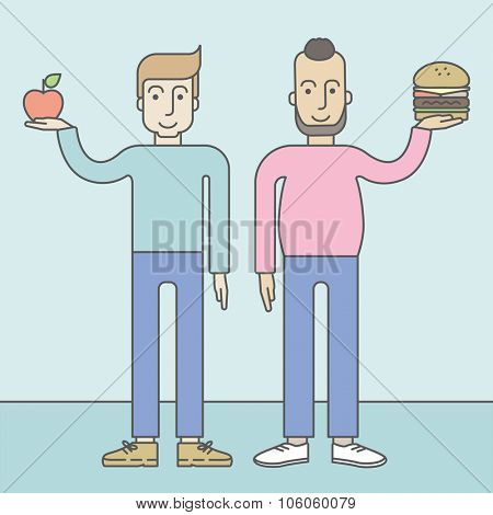 Thick hipster man with beard standing with hamburger while slim caucasian man standing with apple, symbolizing choise between healthy and unhealthy food. Vector line design illustration. Lifestyle