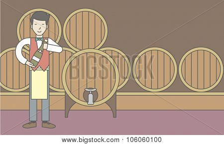 An asian waiter with a bottle of wine in wine cellar. Vector line design illustration. Horizontal layout with a text space for a social media post.