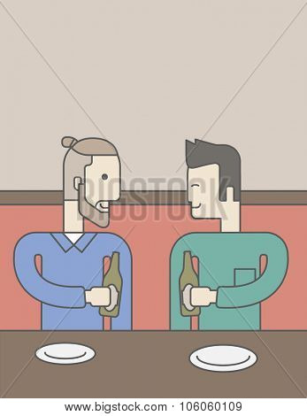 Two men sitting in the bar drinking beer with empty plates on the table. Vector line design illustration. Vertical layout with a text space for a social media post.