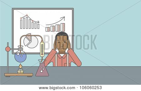 An african-american man in despair sitting at the table with laboratory glassware and blackboard behind him. Vector line design illustration. Horizontal layout with a text space for a social media