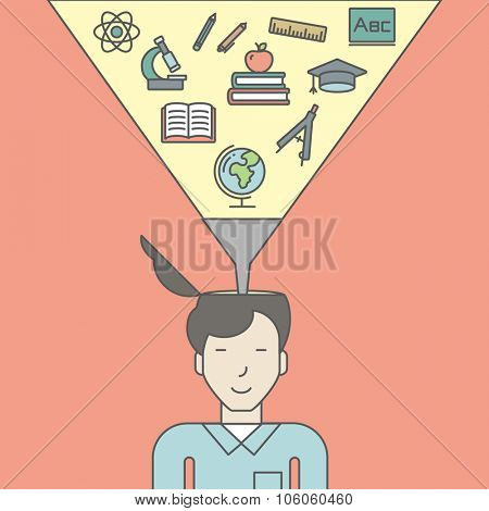 An asian pupil with multiple icons above his head symbolizing knowledge. Vector line design illustration. Square layout.