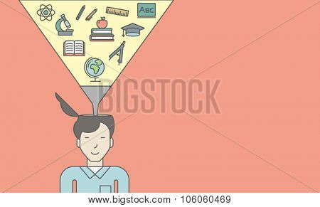 An asian pupil with multiple icons above his head symbolizing knowledge. Vector line design illustration. Horizontal layout with a text space for a social media post.