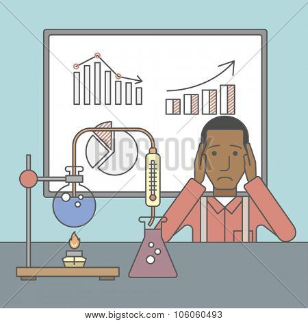 An african-american man in despair sitting at the table with laboratory glassware and blackboard behind him. Vector line design illustration. Square layout.