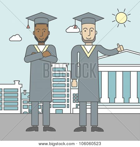 Graduates in cloak and hat on a city background with academy building. Vector line design illustration. Square layout.