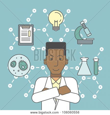 An african-american laboratory assistant with different icons around him symbolizing laboratory work on a background with molecular structure. Vector line design illustration. Square layout.
