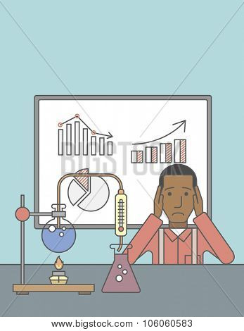 An african-american man in despair sitting at the table with laboratory glassware and blackboard behind him. Vector line design illustration. Vertical layout with a text space for a social media post.