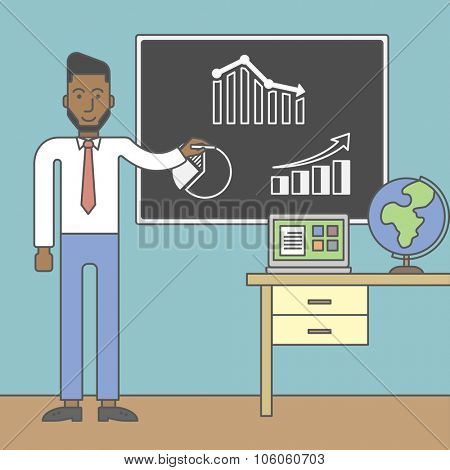 An african-american man painting on a chalkboard and globe and laptop on the table. Vector line design illustration. Square layout.