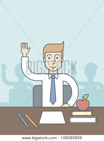 A caucasian pupil rising hand sitting at the table with books and apple on it. Vector line design illustration. Vertical layout with a text space for a social media post.