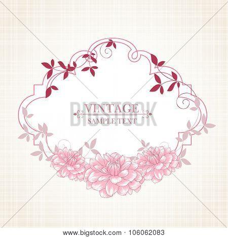 Floral frame with flower dahlia. Element for design. Vector illustration.