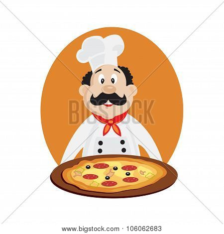 Vector illustration of funny chef with pizza. Vector illustration isolated.