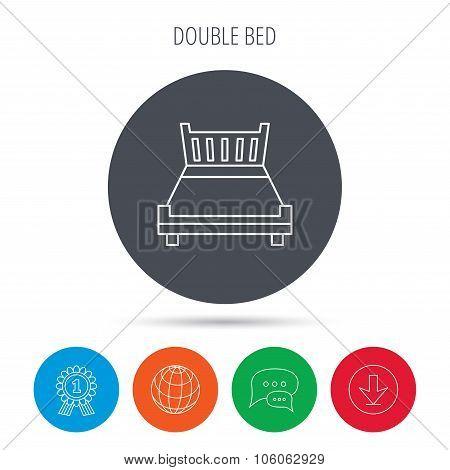 Double bed icon. Sleep symbol.