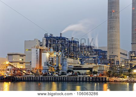 petrochemical industry on sunset, hong kong