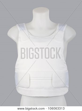 Men's protective bulletproof white vest body armor covers.