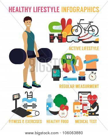 Healthy lifestyle vector infographic