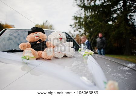 Soft Toys Bears At Wedding Car