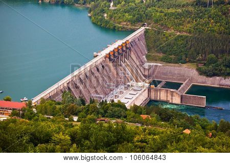 Dam on River Drina - Serbia - technology background
