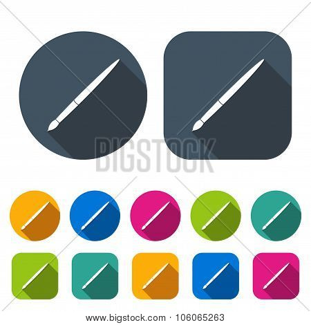 Brush Icons Set In The Style Flat Design