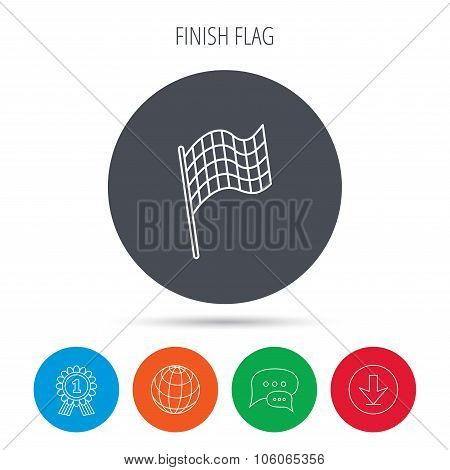 Finish flag icon. Start race sign.