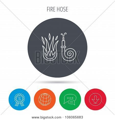 Fire hose reel icon. Firefighters station sign.