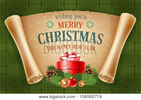 Merry Christmas greeting card with spruce branches, red gift box and old scroll paper on green tartan background. Vector illustration.