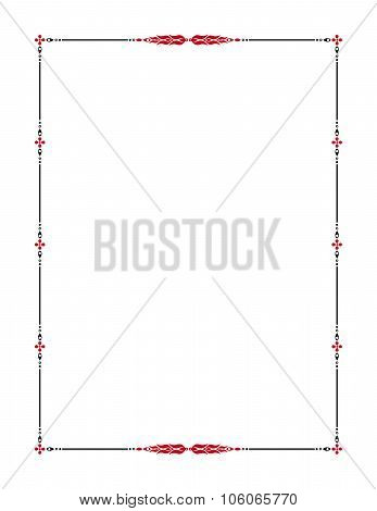 Black and red decorative frame with floral ornament