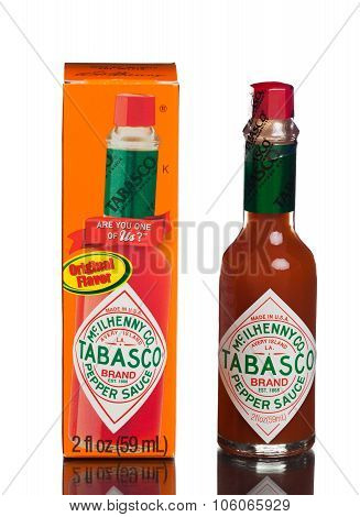 MIAMI, USA - August 31, 2015: Bottle of Tabasco hot sauce. Tabasco sauce was started in 1868