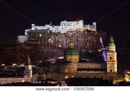 City and castle Hohensalzburg at night - Salzburg Austria