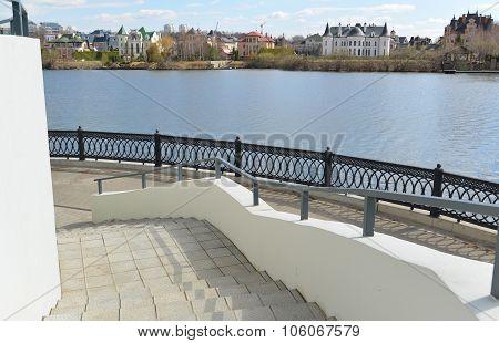 Krasnogorsk RUSSIA - April 22.2015: The Zivopisnaya promenade on  banks of the Moskva River. Locatio