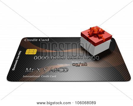 Tiny Red Gift Box On Credit Card