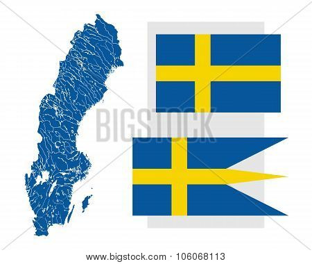 Map Of Sweden With Lakes And Rivers And Two Swedish Flags.