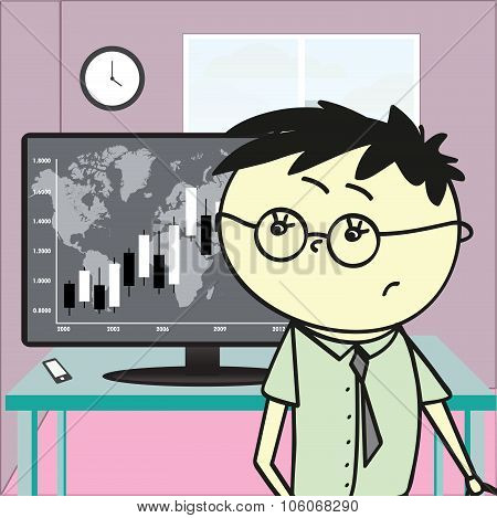 Young Man In An Office Looking At A Monitor With Financial Chart