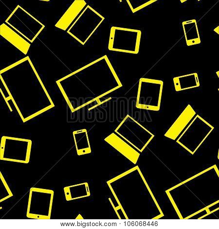 Seamless Pattern With Smart Gadgets On Black