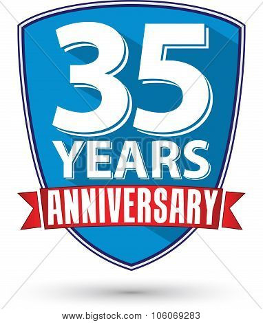 Flat Design 35 Years Anniversary Label With Red Ribbon, Vector Illustration