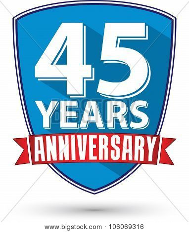 Flat Design 45 Years Anniversary Label With Red Ribbon, Vector Illustration