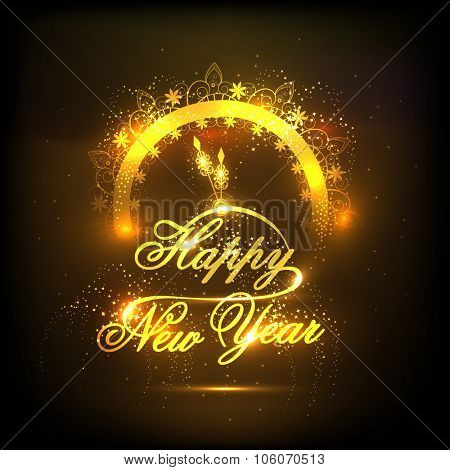 Elegant creative greeting card with golden clock showing almost Twelve 'O' clock on shiny brown background for Happy New Year celebration.