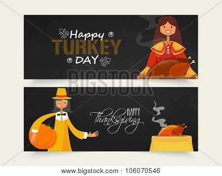 Creative website header or banner set with young pilgrim girl and boy for Happy Turkey Day or Happy Thanksgiving Day celebration.