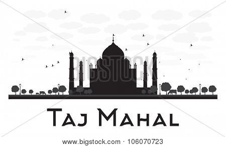 Taj Mahal skyline black and white silhouette. Vector illustration. Simple flat concept for tourism presentation, banner, placard or web site. Business travel concept. Cityscape with famous landmark