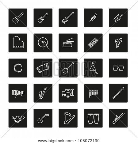 Musical Instruments Line Icon Set. Collection of 25 musical instruments line icons in colored rounded squares