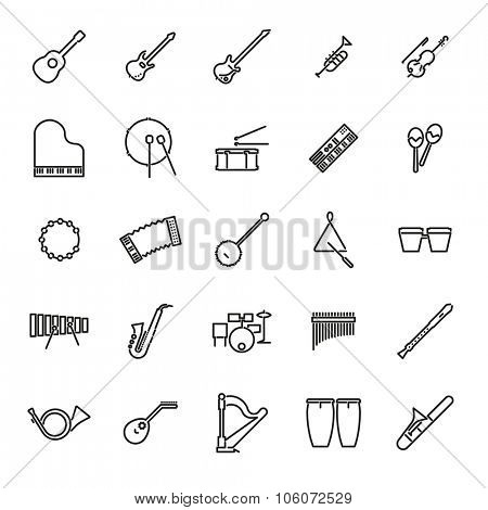 Musical Instruments Line Icon Set. Collection of 25 black musical instruments line icons