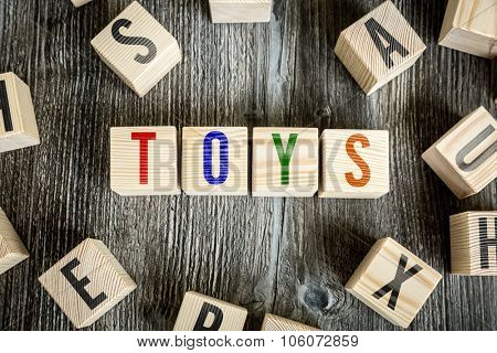 Wooden Blocks with the text: Toys