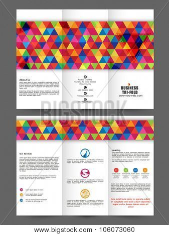 Professional stylish Two page Business Trifold, Flyer, Banner, Template or corporate Brochure with front and back presentation.