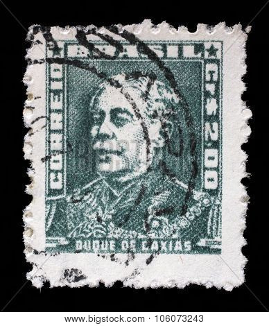BRAZIL - CIRCA 1954: A stamp printed in Brazil from the Portraits issue shows Duke of Caxias, circa 1954.