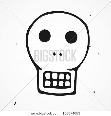 Skull retro cartoon doodle, hand drawn