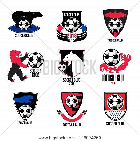 Set of football logos and badges.