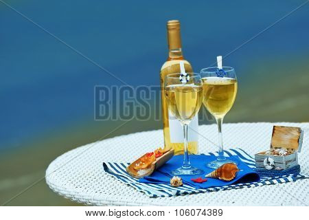 Served table on sea background